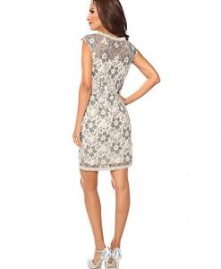 Ashley Brooke Dames Kanten jurk grijs  2