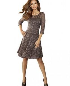 Kanten jurk Hazelnoot 1