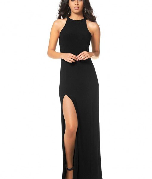 maxi jurk zwart met split