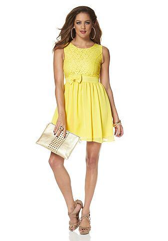 MELROSE Geweven jurk van kant en chiffon geel 1