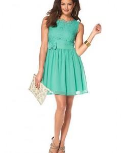 MELROSE Geweven jurk van kant en chiffon turquoise 1