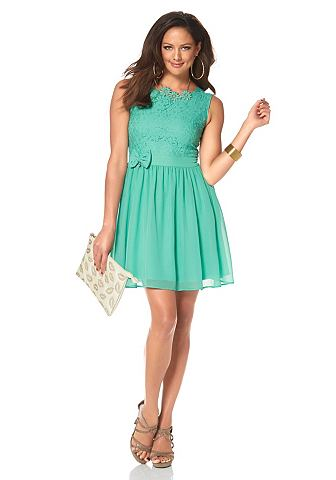 caf826964a0b02 MELROSE Geweven jurk van kant en chiffon turquoise