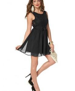 MELROSE Geweven jurk van kant en chiffon zwart 1